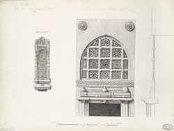 Ahmadabad: Niche from Queens mosque in Mirzapur (left), Perforated top of door of tomb at Rajapur mosque